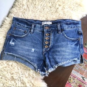 Free People cutoff shorts button fly distressed